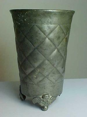 Rare 18th Century Quilted Pewter Cup/Beaker Cherub Feet. Angel Mark