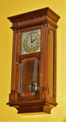 Vintage Sligh -Franz Hermle Westminster / Triple Chime Wall Clock. Solid Cherry.
