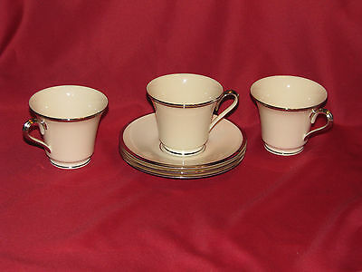 Set of 3 Lenox Solitaire Cups and Saucers with Silver/Platinum Trim