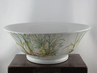 "13"" Large heavy PILLIVUYT France porcelain serving bowl wildflower onions herb"