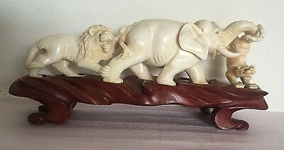 Beautiful Hand-Sculptured Figurine of an Elephant and 2 Lions