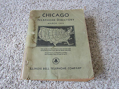 Vintage 1935 Chicago Telephone Directory Illinois Bell System AT&T