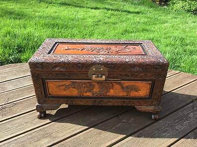 Antique Carved Camphor Oriental Wood Chest Storage Box