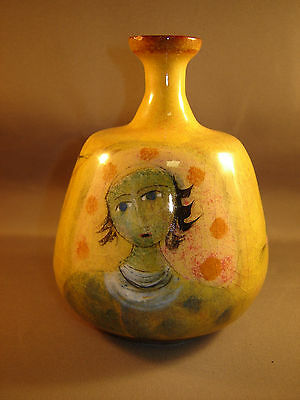 """Polia Pillin Pottery Studio  Vase With Females And Birds 5 3/8"""" Tall"""