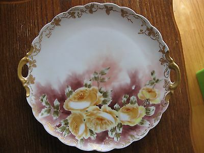 "Antique 1911 hand painted artist signed plate with handles ""Lillian Rogers"""