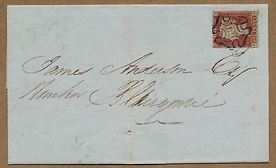 PERTH Maltese Cross on 4 margin 1d red. Wrapper to Blairgowrie. JN 1 1844.