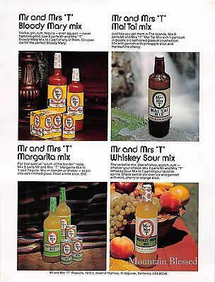1978 Mr & Mrs T Mix Bloody Mary Mai Tai Margarita Whiskey Sour Vintage Print Ad