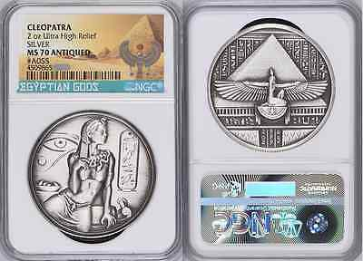 CLEOPATRA ANTIQUED NGC MS70 2 oz 999 Silver Round Coin Heidi Wastweet RARE