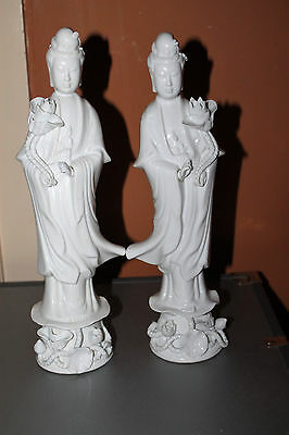 Chinese Blanc de Chine Porcelain Kwan Lyn Guanyin Statues Figurines