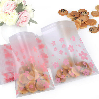 100pcs Flower Cookie Candy Packaging Bags Self Adhesive Gift Birthday Party