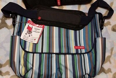 Skip Hop Dash Deluxe Diaper Bag with Changing Pad, Ocean Stripe, NWT