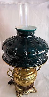 Antique Green Cased Glass Shade On Aladdin Brass Base Electric Lamp