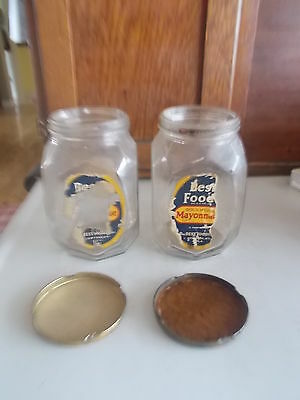 2-Vtg.Best Foods Mayonnaise Honeycomb Pattern Glass Jars/Lid Partial Labels Nice