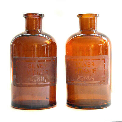 Vintage Pyrex Lot 2 Brown Silver Nitrate Glass Bottle Antique Apothecary Jars