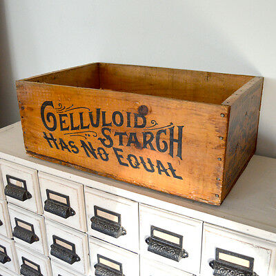 RARE 1800s Antique Celluloid Starch Wood Shipping Crate Box Advertising Graphics