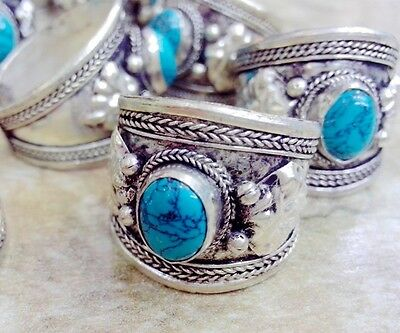 Old Tibet Silver Carved Flower Natural Oval Turquoise Ring Adjustable one pieces