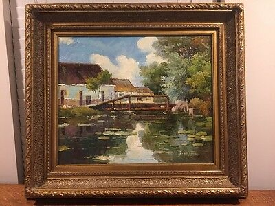 Large Oil On Canvas Painting By Y. Cottage ? Cottaye Artist Signed Original
