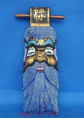Antique Handmade Carving colored drawing wood Mask God Buddhism Deco Art