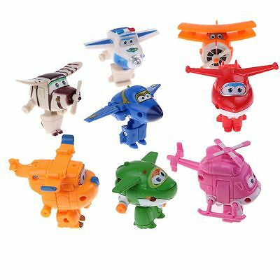 8Pcs Animation Super Wings Transformable Airplane Robot Action Figures Kids Toy