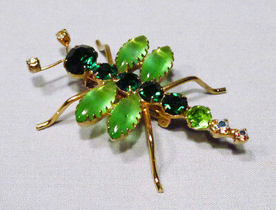 Vintage Gold Metal Green Rhinestone Flying Crawling Winged Insect Pin Brooch