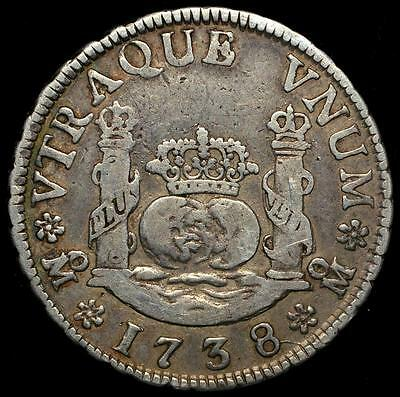1738 Mexico Colonial Silver Coin 2 Reales, Philip V