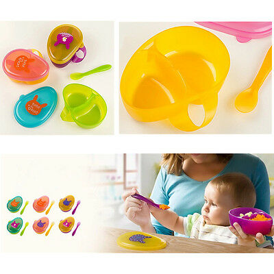 Lunch Boxes Lovely Baby  Food  Portable  Cartoon 1 Set Storage Containers Spoon