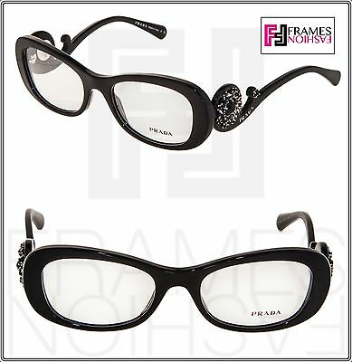 PRADA ORNATE BAROQUE Oval PR10QV Black White Eyeglasses RX 1AB-1O1 VPR 10Q