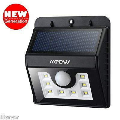 Mpow Solar Power Wireless Home Yard Security Motion Detector Sensor LED Light