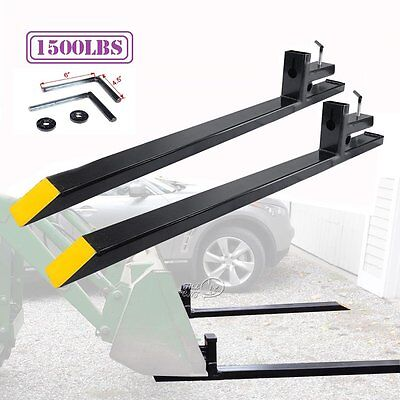 HD Clamp on Pallet Forks 1500lb Capacity Loader Bucket Skidsteer Tractor Chain