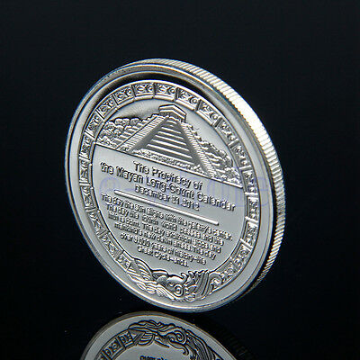Sliver Plated Aztec Mayan Calendar Commemorative Coin Collectible Collection WS
