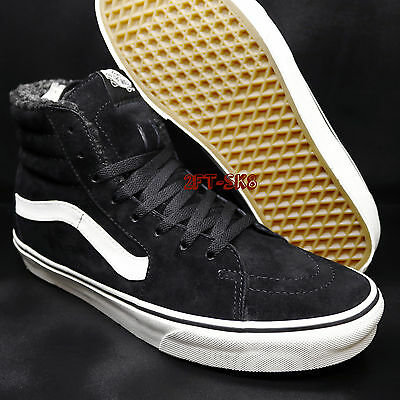50cf2c4081e199 Vans Sk8-Hi Pig Suede Fleece Black Blanc Men s 10.5 Skate Shoes  s74104