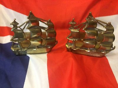 Antique Brass Hms Victory Bookends
