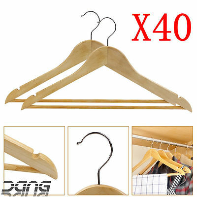 40X Wooden Coat Hangers Clothes Garment Suit Shirt Trouser Wardrobe Wood Hanger