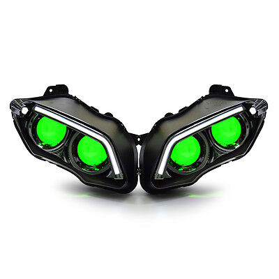KT Headlight Assembly LED & HID Projector for Yamaha R1 07-08 Green Demon Eye