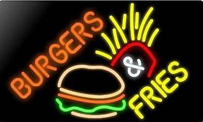"New Burger Fries Beer Bar Restaurant Hamburger Neon Sign 20""x16"""