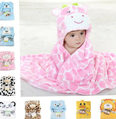 Newborn Baby Kid Cartoon Animal Hooded Bath Towel Blanket Soft Bathing Robe Cute