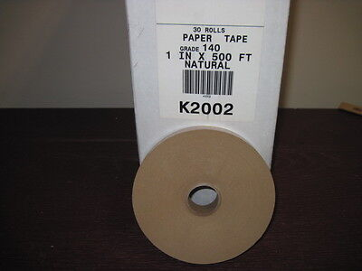 """Lot 30 ROLLS 1"""" x 500 Feet Each - Water Activated Natural KRAFT PAPER TAPE k2002"""