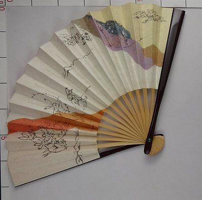 YU131 SENSU Japanese Fan Art Nihonga Picture Geijyutu Traditional crafts tea