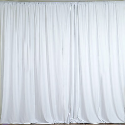 WHITE Polyester Professional BACKDROP CURTAINS 10 x 10 ft Party Decorations SALE