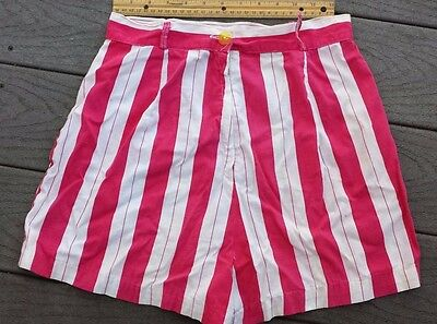 1950s Short Shorts Hot Pink Cotton Vintage Women Striped