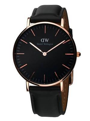 Original Daniel Wellington Classic Black Sheffield rose 36mm DW00100139 NEU