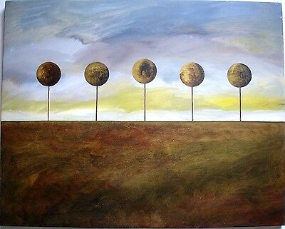FIVE GOLDEN TREES ACRYLIC on CANVAS LANDSCAPE PAINTING