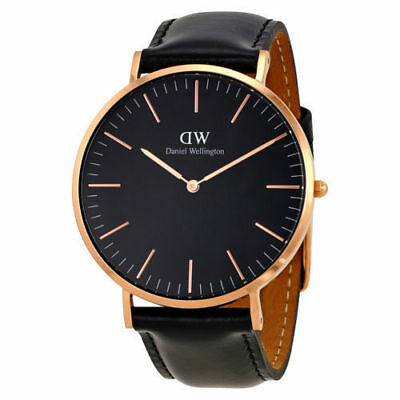 Original Daniel Wellington Classic Black Sheffield rose 40mm DW00100127 NEU