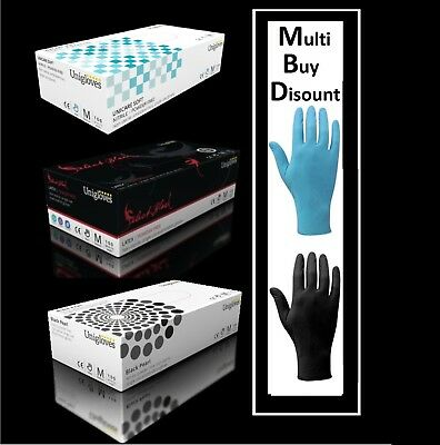 Extra Strong Heavy Duty Black Nitrile & Black Latex Disposable Gloves Boxed x100