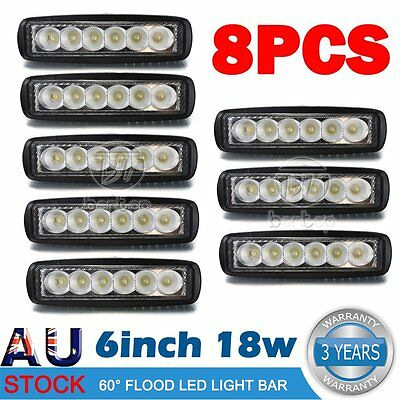 8x 6inch 18W LED Light Bar Driving Work Lamp Spot Truck Offroad UTE 4WD