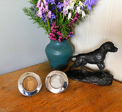 Two Beautiful Vintage Solid Sterling Silver Round Photo Frames 1919 & 1920