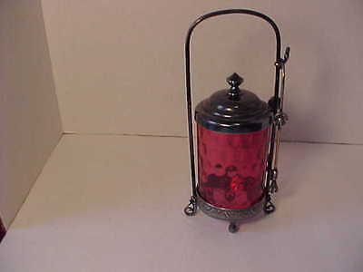 Antique Cranberry Glass Silver Plate Pickle Castor