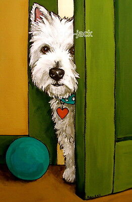 """West Highland Terrier WESTIE MATTED PRINT Painting """"SNEAKING A PEEK"""" Dog RANDALL"""