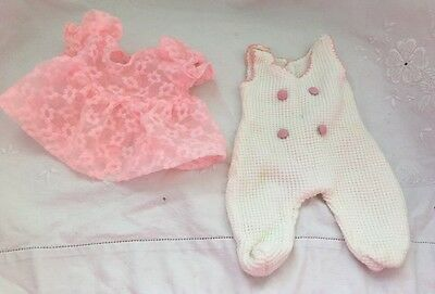 Vintage 1970's Small Baby Doll CLOTHES Pink Lace Dress White Waffle Jumper