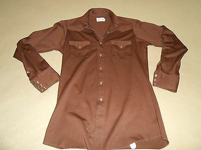 Vintage Western/Rockabilly Brown Polyester Pearl Snap Button Shirt Size 15-34